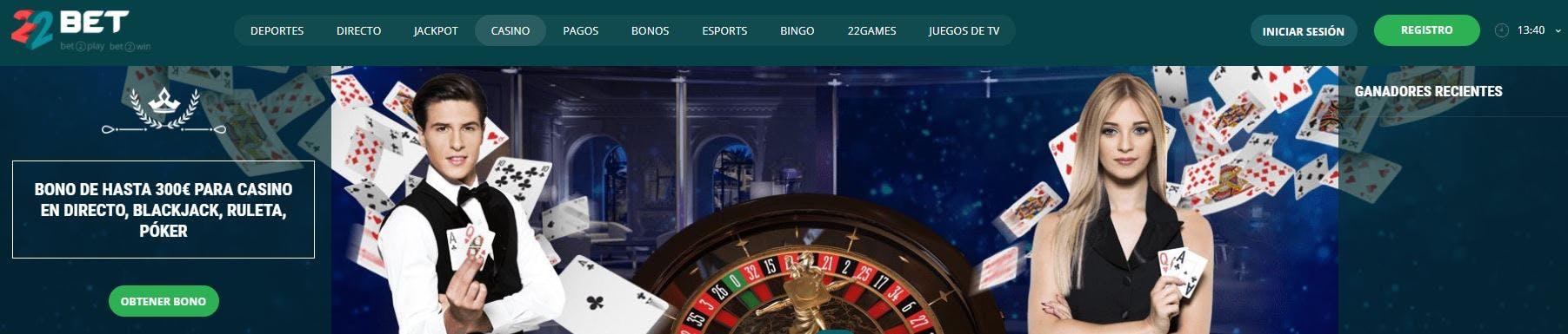 22bet casino online en Uruguay