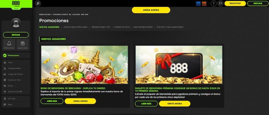 Ofertas y bonificaciones especiales de 888casino